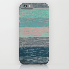 Tree bark wood striped grey turquoise . iPhone Case