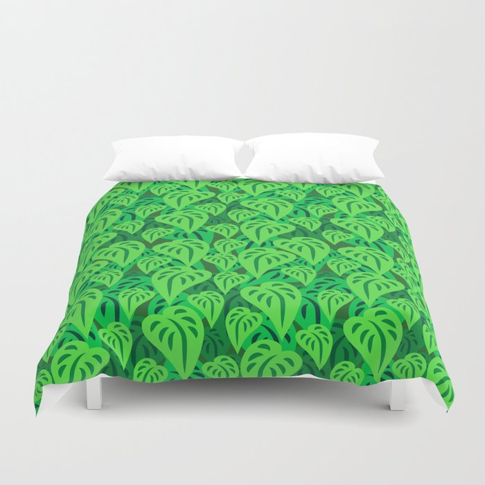 Dense leaf forest in the jungle of South America Duvet Cover