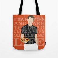 pushing daisies Tote Bags featuring Pushing Daisies - Ned by MacGuffin Designs