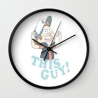 gravity falls Wall Clocks featuring This Guy: Gravity Falls by EclecticMayhem