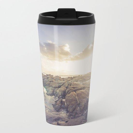 Golden hour, rocky beach landscape Metal Travel Mug