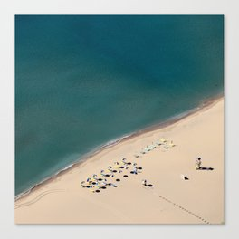 Aerial view of beach with umbrellas and beds in Greece  Canvas Print