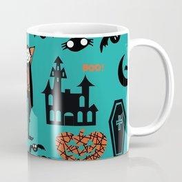 Cute Dracula and friends teal #halloween Coffee Mug