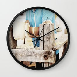 The artisan and the lathe Wall Clock