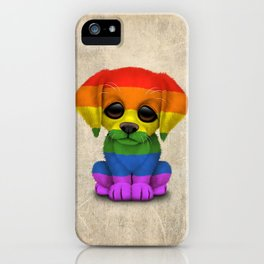 Cute Puppy Dog with Gay Pride Rainbow Flag iPhone Case