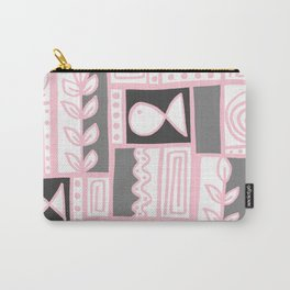 Fishes Seaweeds and Shells - Gray and Pink Carry-All Pouch