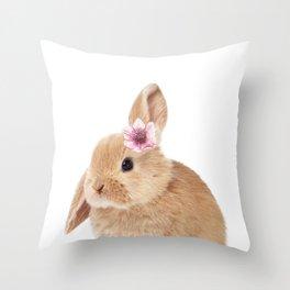 flower bunny Throw Pillow