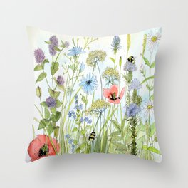 Floral Watercolor Botanical Cottage Garden Flowers Bees Nature Art Throw Pillow