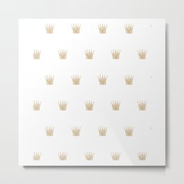 Golden Crown Pattern Metal Print