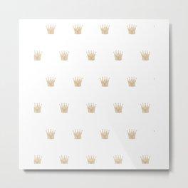 Golden Crown Pattern Metal Print