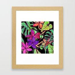 Tropical leaves and flowers, jungle print Framed Art Print