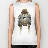 walrus Biker Tanks featuring walrus by Manoou