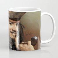 jack sparrow Mugs featuring Jack Sparrow by Hernán Castellano