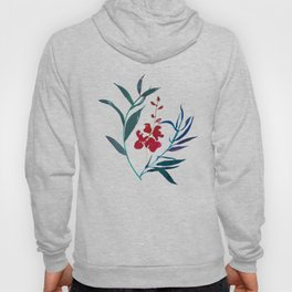 Red burgundy orchid and ocean navy blue foliage Hoody