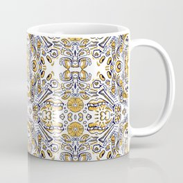 blue and yellow - doodle marker repeating design edit Coffee Mug