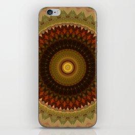 Brown and red tones mandala iPhone Skin