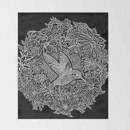 Hummingbird In Flowery Wreath Linocut Throw Blanket