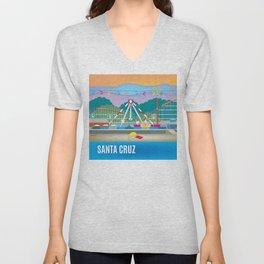 Santa Cruz, California - Skyline Illustration by Loose Petals Unisex V-Neck