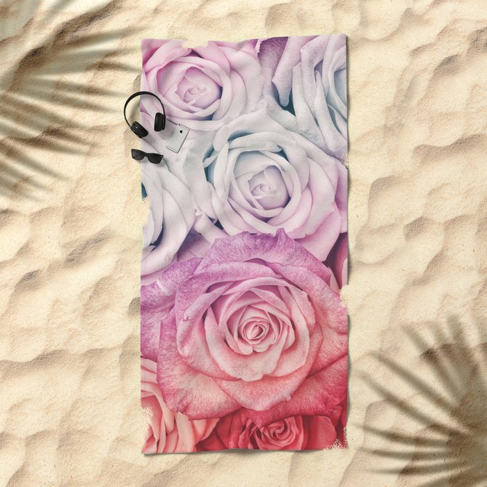 Some people grumble II  Floral rose flowers pink and multicolor Beach Towel