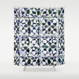 abstract tile in shade of blues Shower Curtain