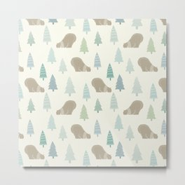 Merry Christmas Polar bear - Animal pattern Metal Print