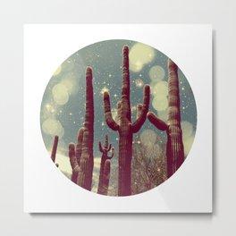 Space Cactus Metal Print
