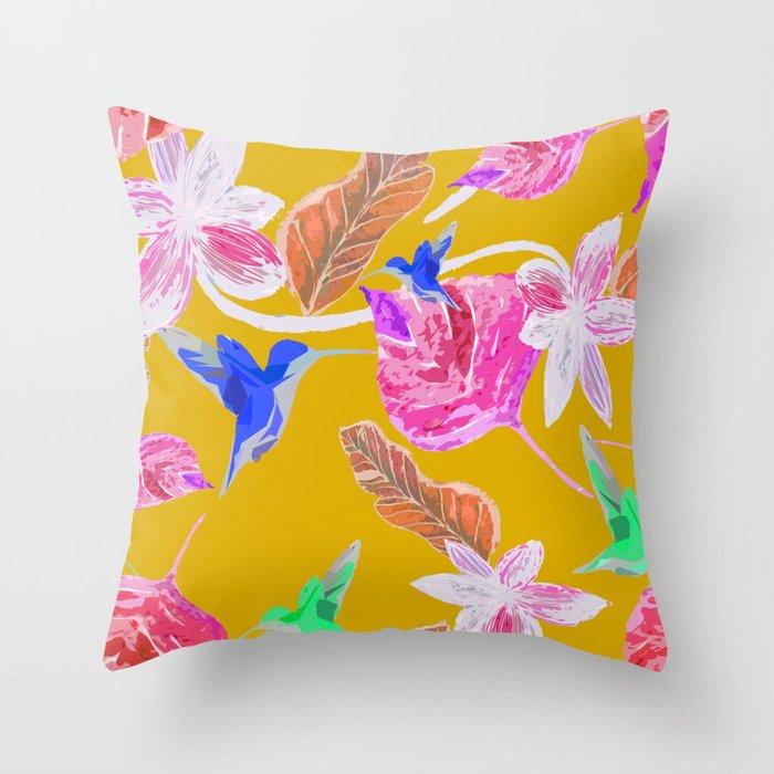 Humming bird and autumn botanic Throw Pillow