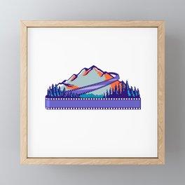 Flowing Film Strip Mountain and Trees WPA Retro Framed Mini Art Print