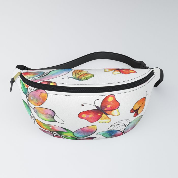Colorful branch and butterflies Fanny Pack