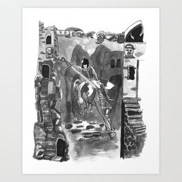 #Knight on #horse #ink #illustration Art Print