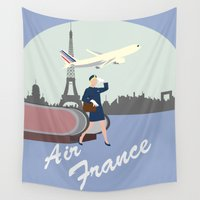 france Wall Tapestries featuring Air France by Katy Souders