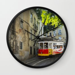 art impression of people getting on the Yellow tram goes by the street of Lisbon city center on Sept Wall Clock