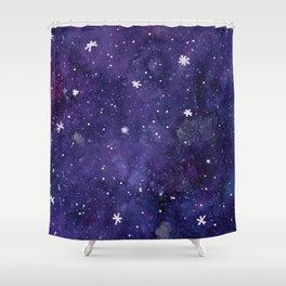 Watercolor galaxy - purple Shower Curtain