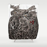 greg guillemin Shower Curtains featuring Owl Abstract by Greg Phillips by SquirrelSix