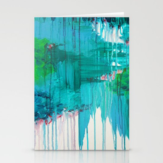 BLUE MONSOON - Stunning Rain Storm Dark Teal Clouds Navy Royal Blue Kelly Green Crimson Red Purple Stationery Cards