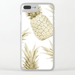 Gold Pineapple Party Clear iPhone Case