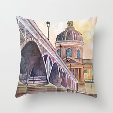 Paris, Pont des arts and institute de France - watercolor painting  Throw Pillow