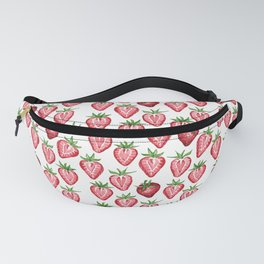Watercolor Strawberries on White Fanny Pack