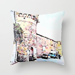 Vatolla: tower with car and truck Throw Pillow