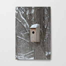 Bird House with Snow on the Roof Metal Print