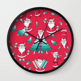 Busy Santas III Wall Clock
