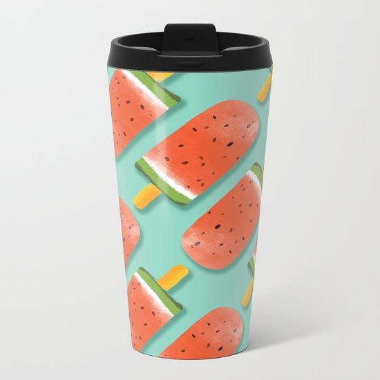 Watermelon Popsicles Pattern #society6 #decor #buyart Metal Travel Mug