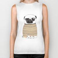 pug Biker Tanks featuring Pug  by Phillippa Lola