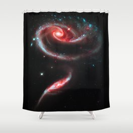 Galaxy Rose Red Shower Curtain