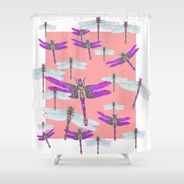 PURPLE  & GOSSAMER WHITE  DRAGONFLIES CORAL ART DESIGN  ART decor, furn Shower Curtain
