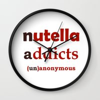 nutella Wall Clocks featuring Nutella Addicts Unanonymous by jozi.art