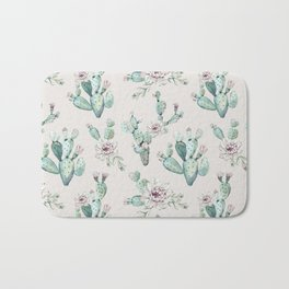 Pretty Cactus Rose Pattern Pale Pink + Green Bath Mat