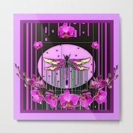 Orchid Purple Deco Dragonfly Orchids Art Metal Print