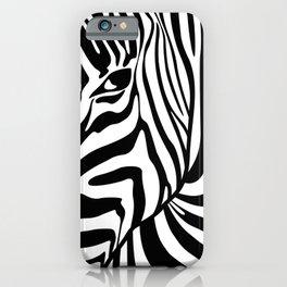 Black And White Zebra Portrait, Animal Photo, Large Printable Photography, Stripes Wall Art, Striped iPhone Case