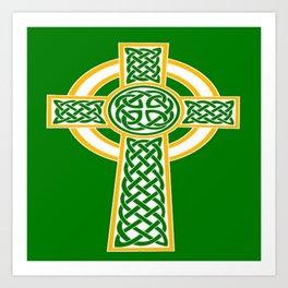St Patrick's Day Celtic Cross White and Green Art Print